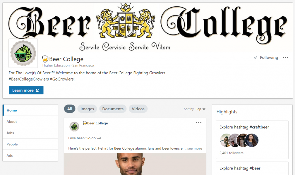 Beer College LinkedIn Page (Image)
